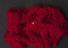 Red mohair wrap with free matching hair-tie